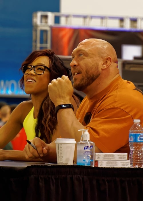 Alicia Fox and Ryback at WrestleMania Axxess in March 2015