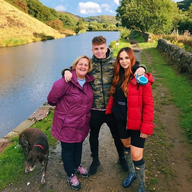 Amy Weller as seen while posing for a very scenic picture alongside her mother and brother in Halifax, West Yorkshire in August 2018
