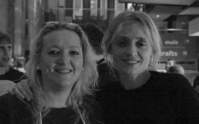 Anne-Marie Duff (Right) as seen while posing for a picture along with Ann-Marie Humphreys at the Manchester Royal Exchange Press Night for 'Husbands & Sons' in February 2016