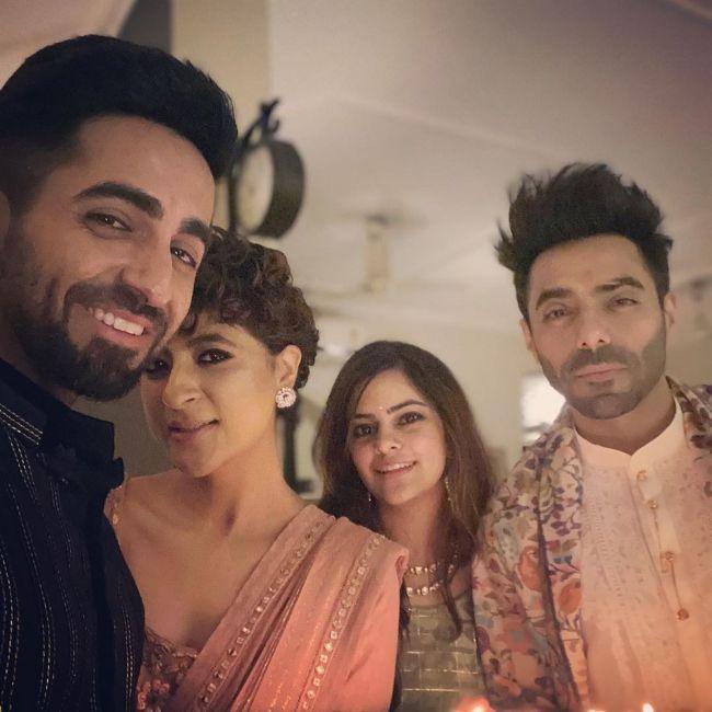 Aparshakti seen with his brother Ayushmann Khurrana, Tahira Kashyap, and wife Aakriti Ahuja in 2019
