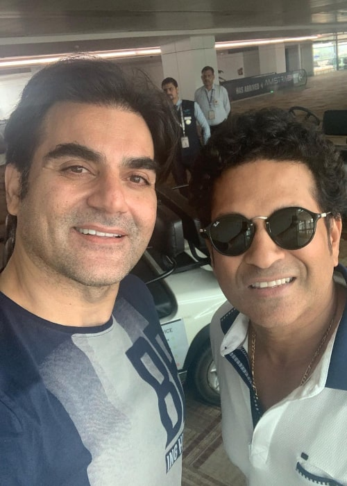 Arbaaz Khan with former Indian cricketer Sachin Tendulkar, as seen in April 2019