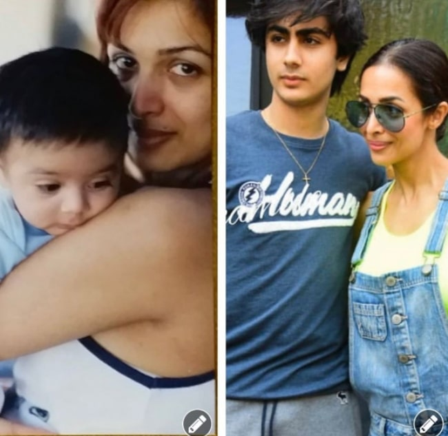 Arhaan Khan as seen with his mother when he was a baby and also when he turned 17 years old