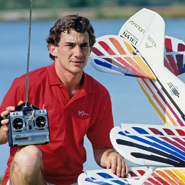 Ayrton Senna as seen in picture while partaking in his favorite hobby, aeromodelism in the past