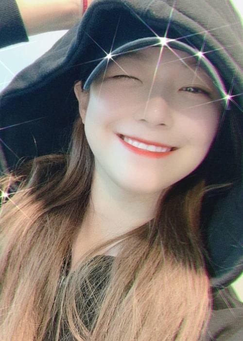 Baek Ji-heon as seen in a selfie that was uploaded to her fan account in March 2020