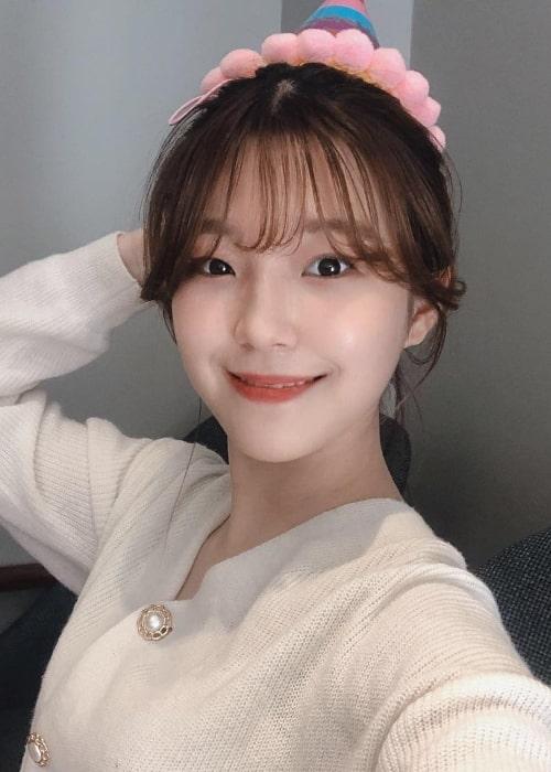 Baek Ji-heon as seen in a selfie that was uploaded to her fan page in April 2019
