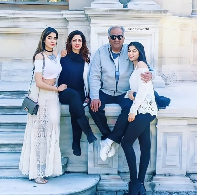 Boney Kapoor with his wife and their daughters as seen in the past