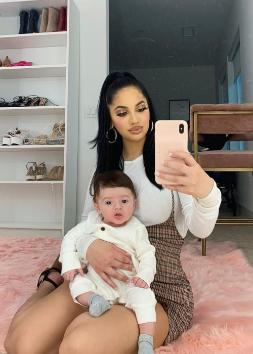 Briana Murillo as seen in selfie taken with her son Evi in March 2020