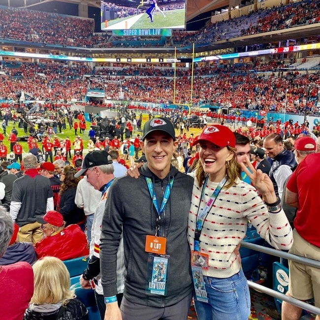 Candace Nelson as seen while posing for a picture alongside her husband at Hard Rock Stadium in Miami Gardens, Florida in February 2020