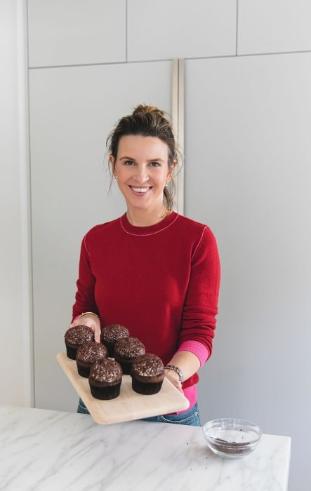 Candace Nelson as seen while posing for the camera with her cupcakes in Los Angeles, California in February 2020