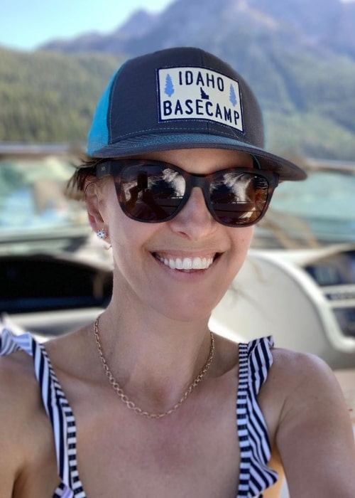Candace Nelson as seen while taking a selfie at Redfish Lake located in the Sawtooth National Recreation Area in Idaho, United States in August 2019