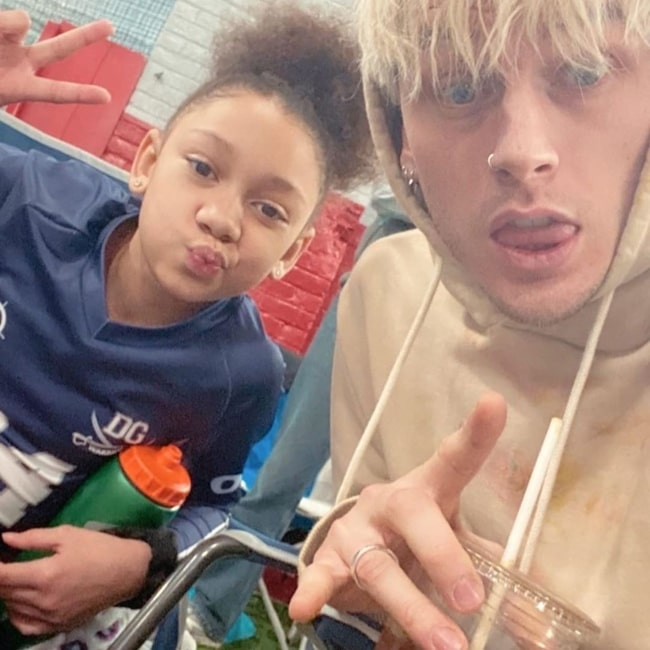 Casie Colson Baker as seen in a selfie taken with her father Machine Gun Kelly in the past