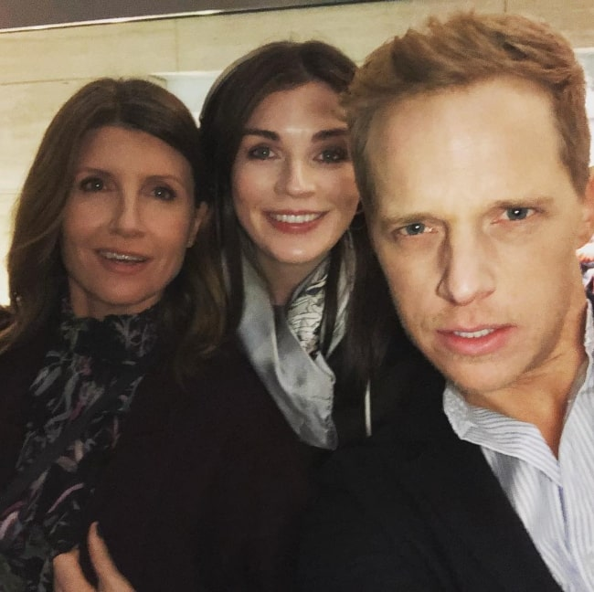 Chris Geere as seen while clicking a selfie along with Aisling Bea (Center) and Sharon Horgan in February 2019
