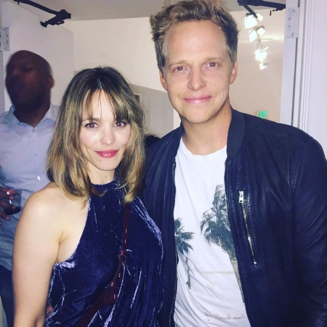 Chris Geere as seen while posing for a picture alongside Rachel McAdams in Los Angeles, California in September 2018