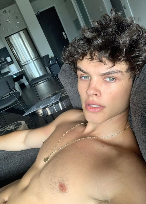 Curran Walters as seen while taking a shirtless selfie in September 2019