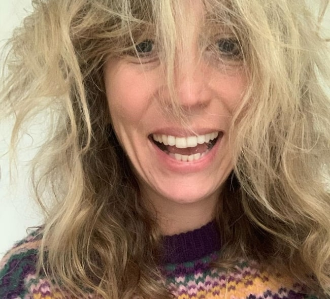 Daisy Haggard as seen while taking a selfie with messy hair in January 2020