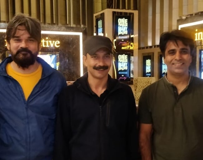 Deepak Dobriyal with the cast and crew screening for the film Baba in July 2019