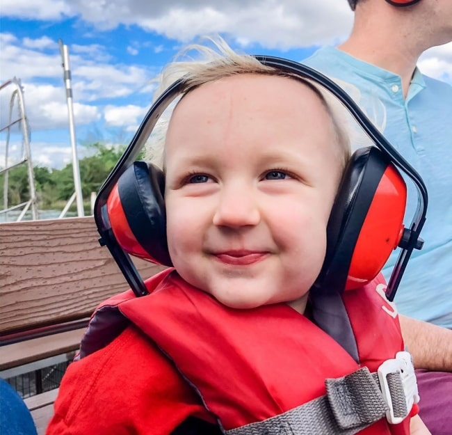 Duncan Ballinger enjoying an air boat ride in Florida in March 2020 wearing headphones for ear protection from the loud boat fan