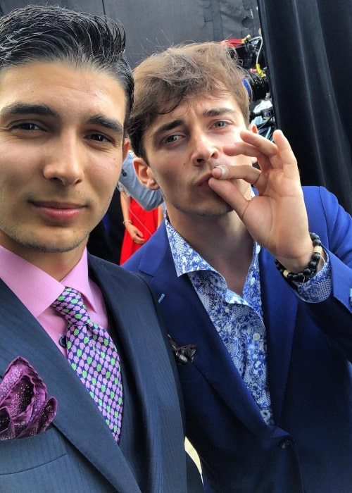 Esteban Ocon and fellow F1 driver Charles Leclerc on the sidelines of the Monaco GP in May 2018