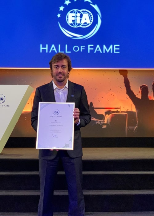 Fernando Alonso after being inducted into the FIA Hall of Fame in December 2019