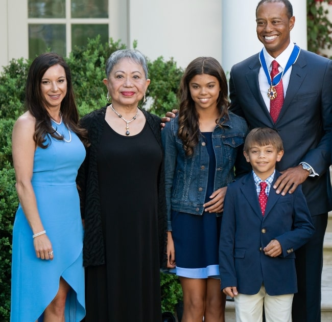 From Left - Erica Herman, Tiger Woods' mother Kultida Woods, Tiger Woods' daughter Sam Woods, Tiger Woods' son Charlie Woods, and Tiger Woods after he received the Presidential Medal of Freedom on May 6, 2019