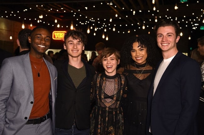 From Left to Right - Zachary S. Williams, Wyatt Jess Oleff, Sophia Lillis, Sofia Bryant, and Richard Ellis as seen while posing for a picture in January 2020