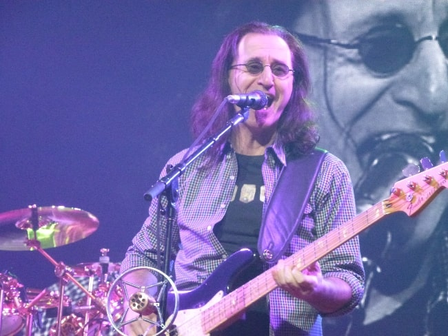 Geddy Lee as seen while performing during an event in October 2012