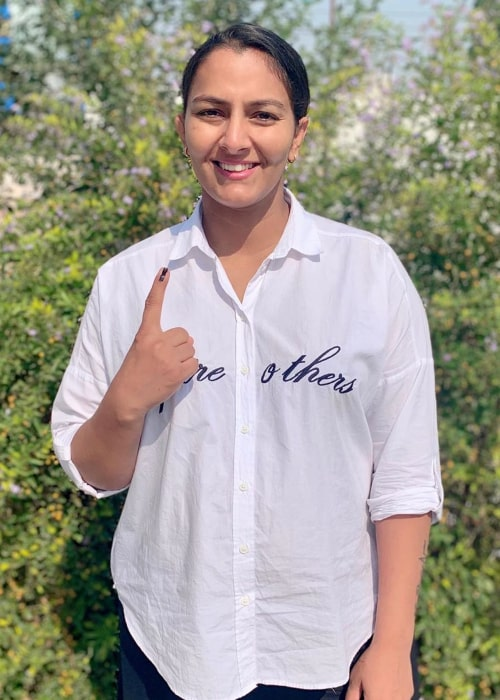 Geeta Phogat as after voting in a local election in October 2019