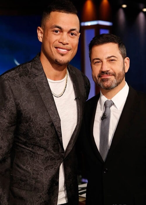 Giancarlo Stanton as seen in a picture take with Jimmy Kimmel on the set of Jimmy Kimmel Live! in October 2017