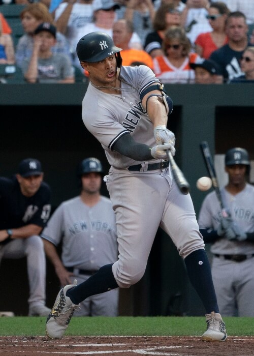 Giancarlo Stanton as seen in a picture taken during a game at Orioles on July 10, 2018