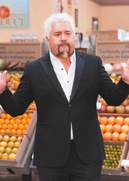 Guy Fieri on the sets of a TV show in February 2020