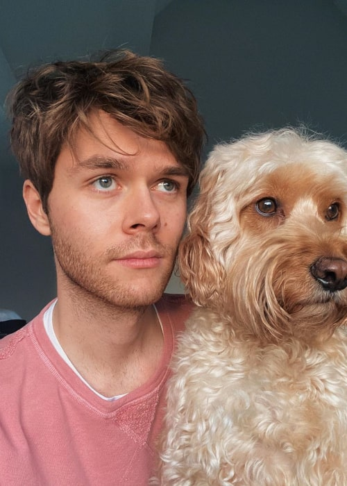 Harrison Webb with his pet dog, as seen in January 2020