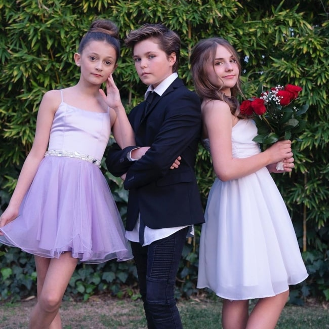 Hayden Haas as seen in a picture taken with social media stars Sophie Fergi and actress, dancer, singer Piper Rockelle in Beverly Hills, California in February 2020