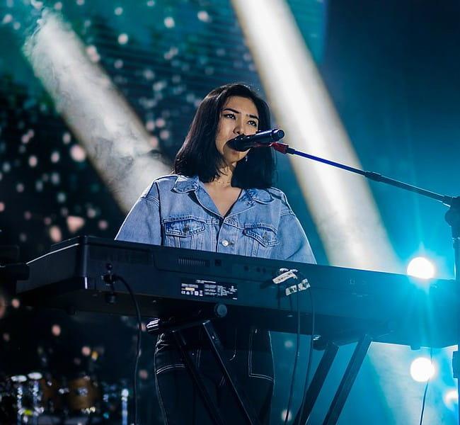 Isyana Sarasvati performing at Magnofestwo concert in February 2020
