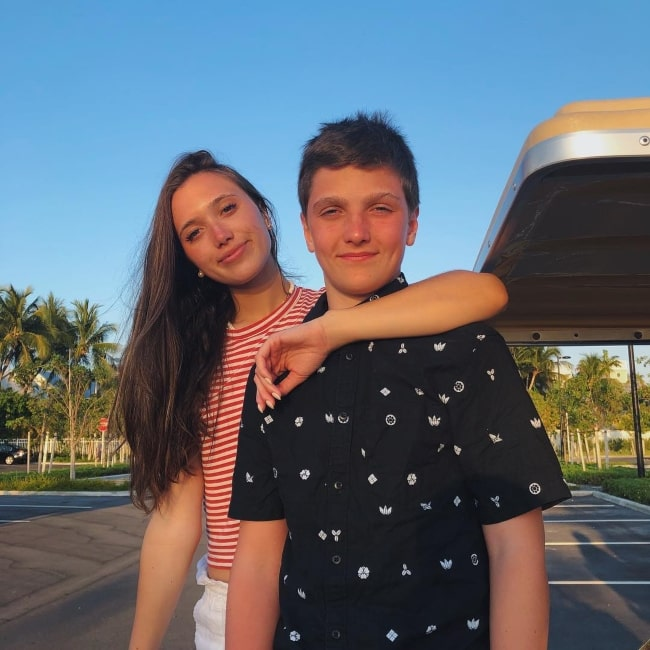 Jack Meloche as seen in a picture with his older sister Hannah Meloche in April 2019