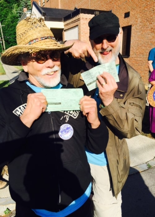 James Cromwell (Right) and JG Hertzler as seen while participating in an anti-fracking protest in June 2016