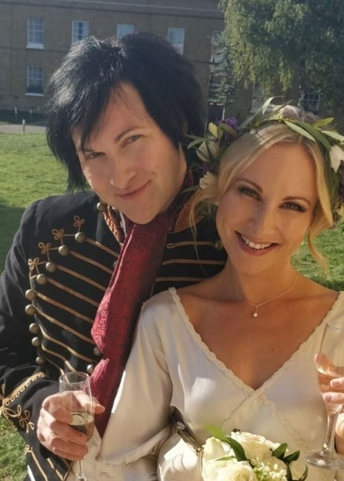 Jinxx as seen in a picture taken at the Asylum Chapel in London with his now wife Alice Mogg on the day of their wedding in September 2018