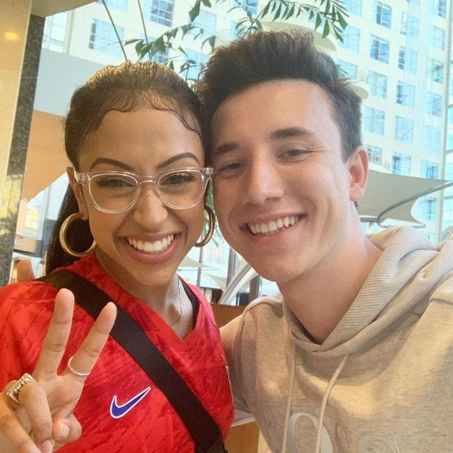 Josh Sadowski as seen while smiling in a picture alongside Liza Koshy in Anaheim, Orange County, California in July 2019