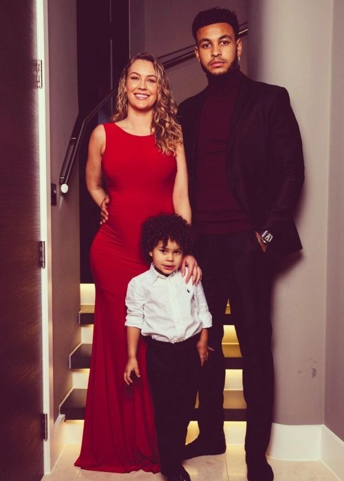 Joshua seen with his wife and son Noah King on Christmas Day 2019