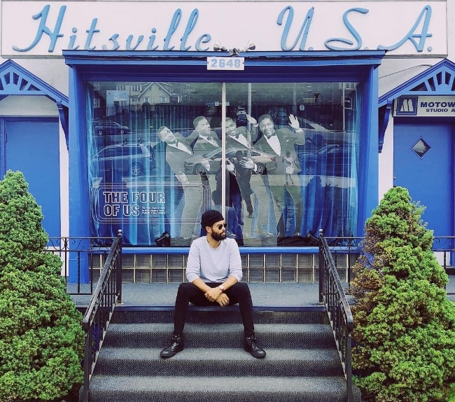 Josiah Bell as seen while posing for a picture at Motown Hitsville in Detroit, Michigan in August 2018