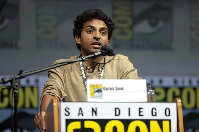 Karan Soni speaking at the 2018 San Diego Comic-Con International for 'Deadpool 2' at the San Diego Convention Center in San Diego, California