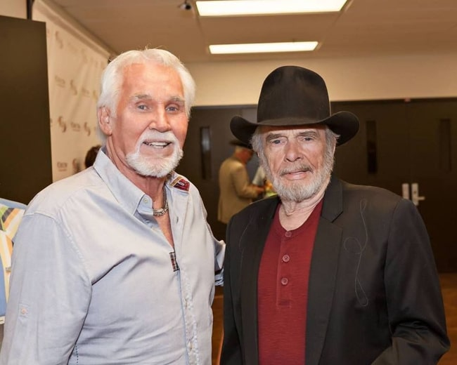 Kenny Rogers and fellow country music legend Merle Haggard, as seen in May 2019