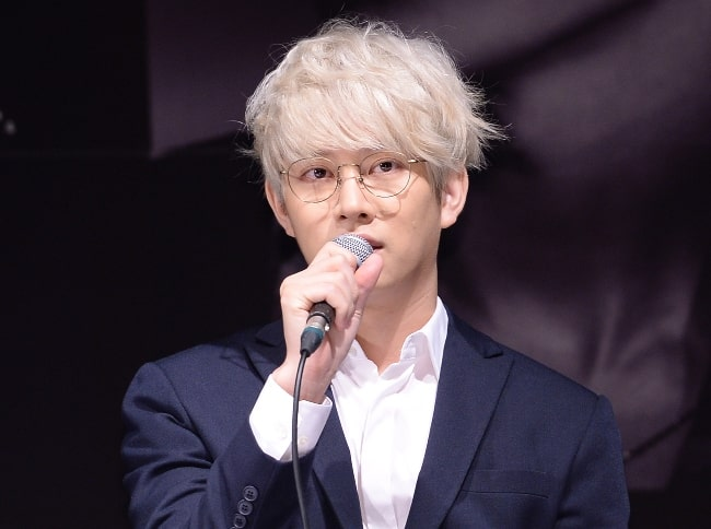 Kim Hee-chul as seen at the 10th Anniversary Special Album 'Devil' Press Conference on July 15, 2015