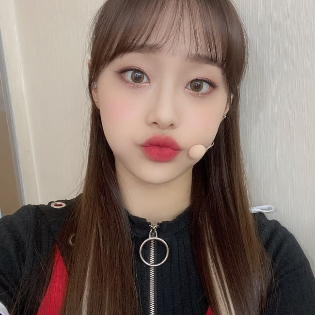Kim Ji-woo as seen while pouting for a selfie in March 2020