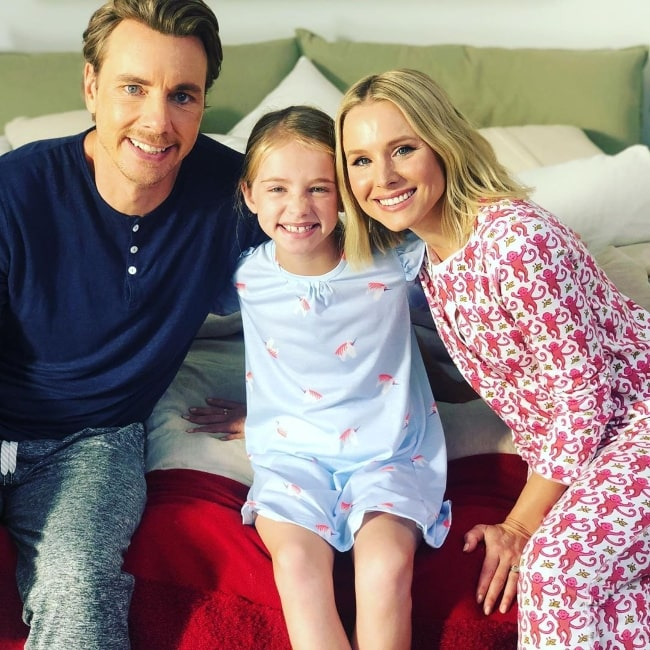 Kingston Foster as seen while posing for a picture along with her on-screen parents Kristen Bell and Dax Shepard in October 2019