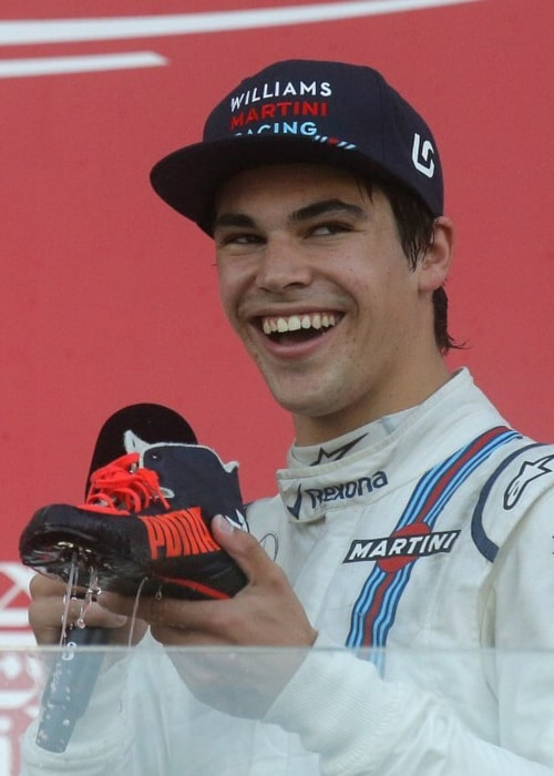 Lance Stroll after securing 3rd place at the Azerbaijan GP in June 2017