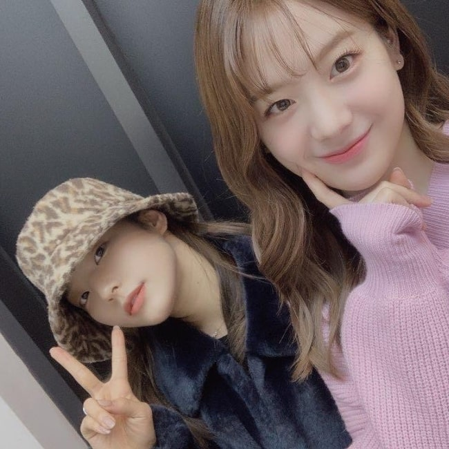 Lee Sae-rom as seen in a selfie taken with her fellow group mate Jang Gyu-ri on the day of her birthday in December 2019