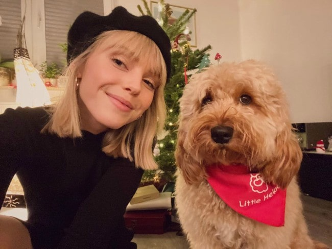 Lina Larissa Strahl in a selfie with her dog as seen in December 2019