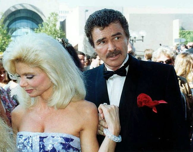 Loni Anderson and Bert Reynolds at the 43rd Emmy Awards in August 1991