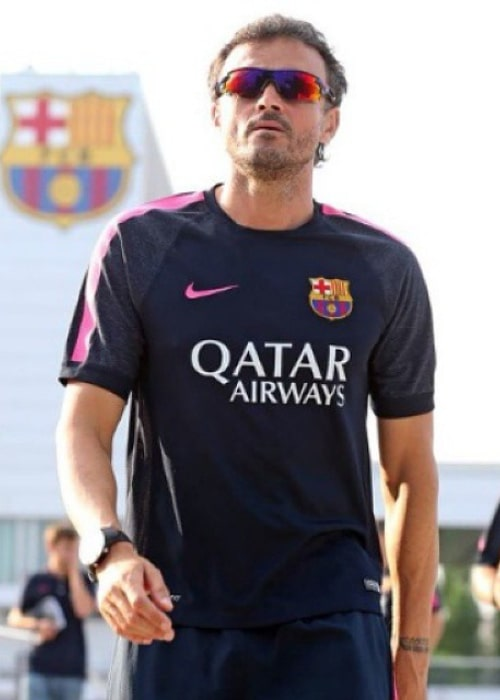 Luis Enrique during a FC Barcelona training session in November 2014