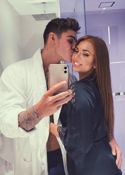 Luke Mabbott as seen in a selfie taken with his girlfriend Demi Jones in March 2020